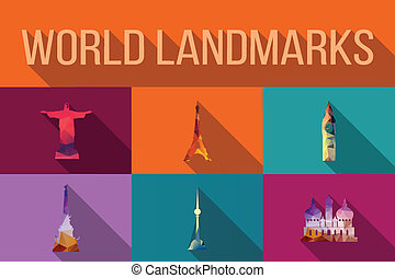värld, bebyggelse, milstolpar, berömd