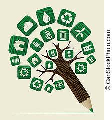 värld, begrepp, grönt träd, blyertspenna