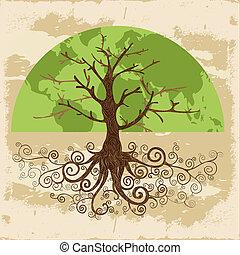värld, begrepp, träd