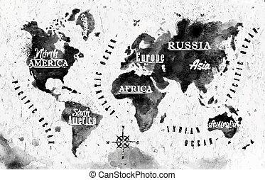 värld, bläck, karta