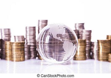 värld, concept., finansiell, pengar