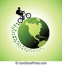 värld, cykla, omkring