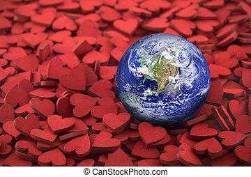 värld dag, concept., värld glob, på, hundreds, av, liten, röd, hearts., mull, foto, förutsatt att, av, nasa.