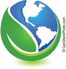 värld, design, grön, logo