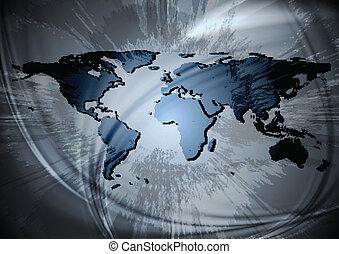 värld, design, karta