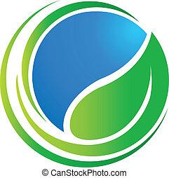 värld, ekologi, blad, omkring, logo
