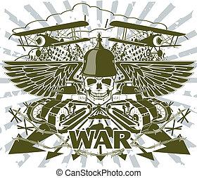 värld, emblem, krig