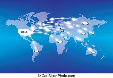 värld, exportera, omkring, usa