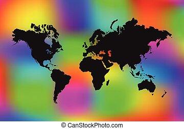 värld, färgrik, illustration, karta