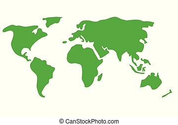 värld, färgrik, karta