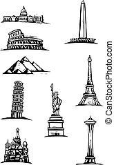 värld, fläckar, monument