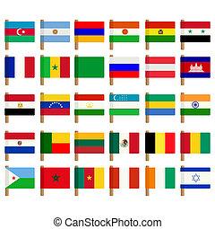 värld, flagga, 2, sätta, ikonen