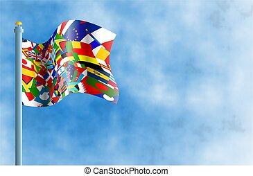 värld, flagga