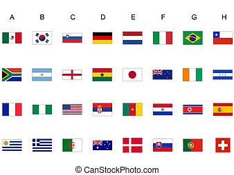 värld, flaggan, kopp