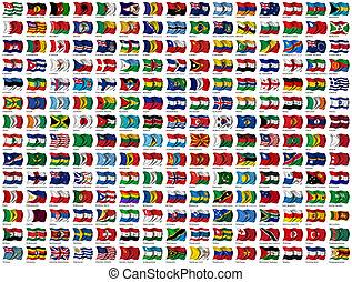 värld, flaggan, sätta
