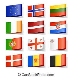värld, flags., europe.