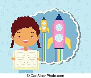 värld, flicka, bok, dag