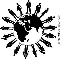 värld, folk, arbetsstyrka, affärsverksamhet lag