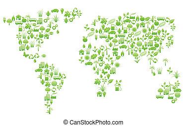 värld, form, karta