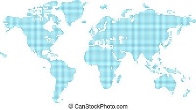 värld, fyrkanteer, karta