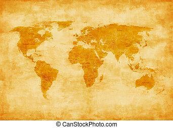 värld, gammal, karta