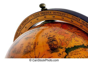 värld, gammal, klot, karta