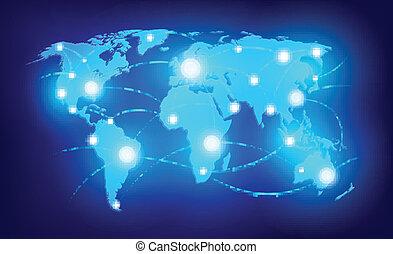 värld, glödande, pekar, karta
