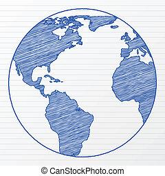 värld glob, 5, teckning