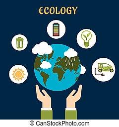 värld glob, begrepp, ekologi, räcker