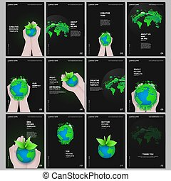 värld glob, begrepp, grön, värld, planet, broschyr, format, layout, mallar, överdragen, design., täcka, hälsa, flygare, omsorg, man., design, räcker, rapport, broschyr, design, a4, tidskrift, bok