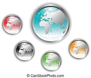 värld glob, button.