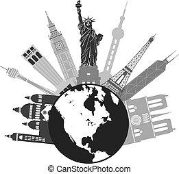 värld glob, grayscale, resa, illustration