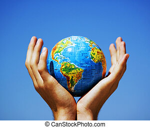 värld glob, in, hands., begreppsmässig avbild
