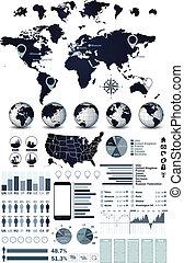 värld glob, karta, infographics