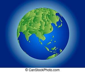 värld glob, kartera, grön, -in