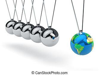 värld glob, newton's, vagga
