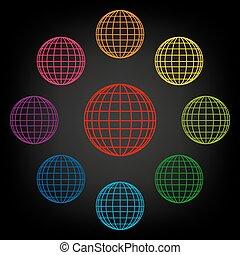 värld glob, sätta, ikon
