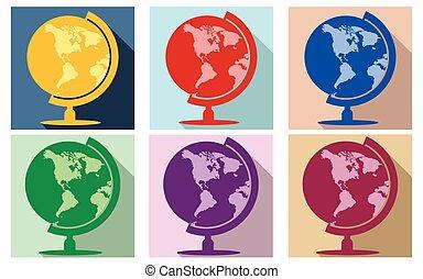 värld glob, sätta, lägenhet, ikon