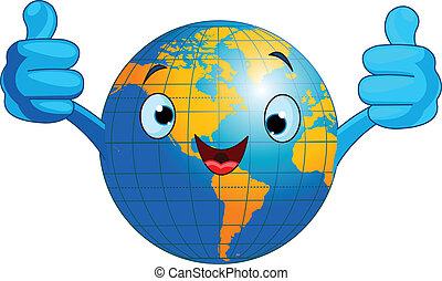 värld glob, tecken