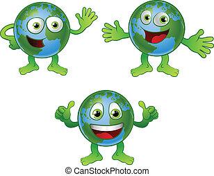 värld glob, tecken, tecknad film