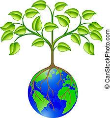 värld glob, träd