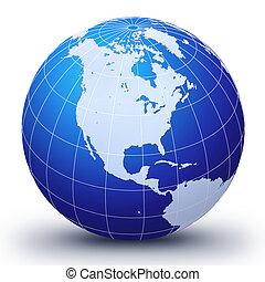 värld glob, tre