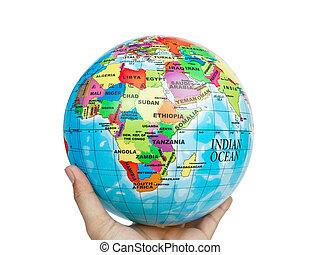 värld glob, värld, in, hand