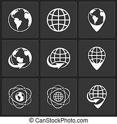 värld glob, vektor, värld, ikonen