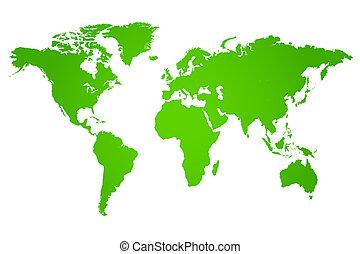 värld, grön, illustration, karta