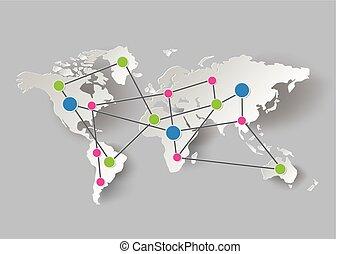 värld, graphics., papper, karta