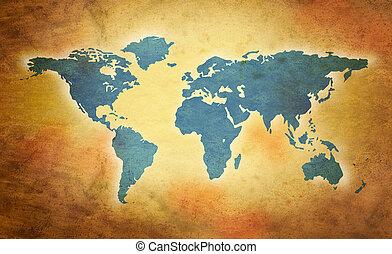 värld, grunge, karta
