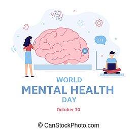värld, hälsa, mental, dag