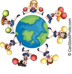 värld, hejarklacksanförare, omkring, dansande