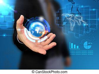värld, holdingen, affär, hand